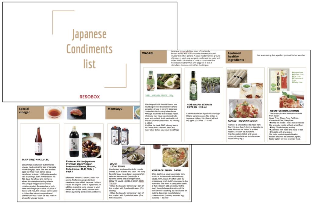 日本の調味料をまとめた自社カタログの一部